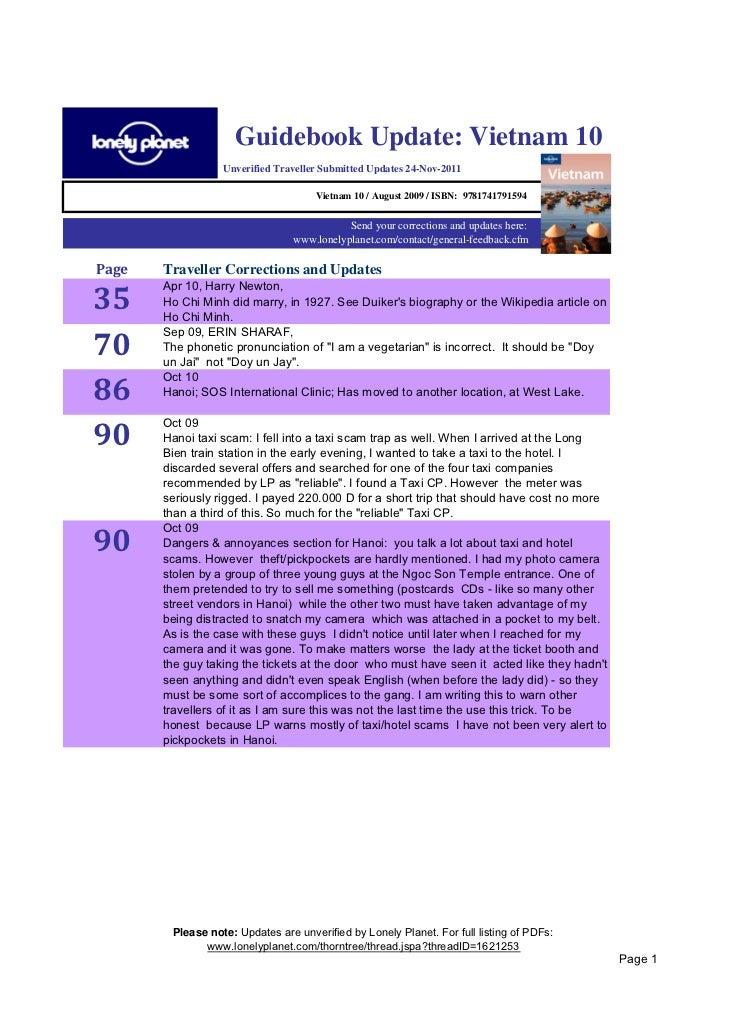 Guidebook Update: Vietnam 10                  Unverified Traveller Submitted Updates 24-Nov-2011                          ...