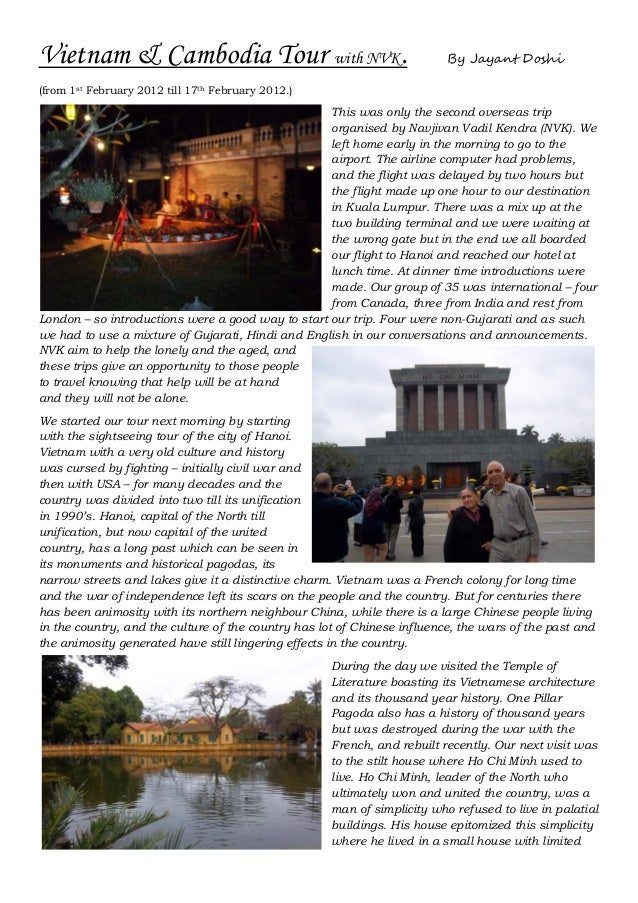 Vietnam & Cambodia Tour with NVK.                                         By Jayant Doshi(from 1st February 2012 till 17th...