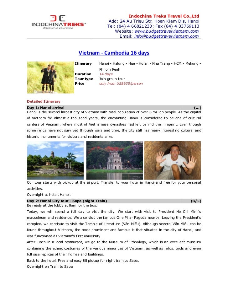 Indochina Treks Travel Co.,Ltd                                                   Add: 24 Au Trieu Str, Hoan Kiem Dis, Hano...