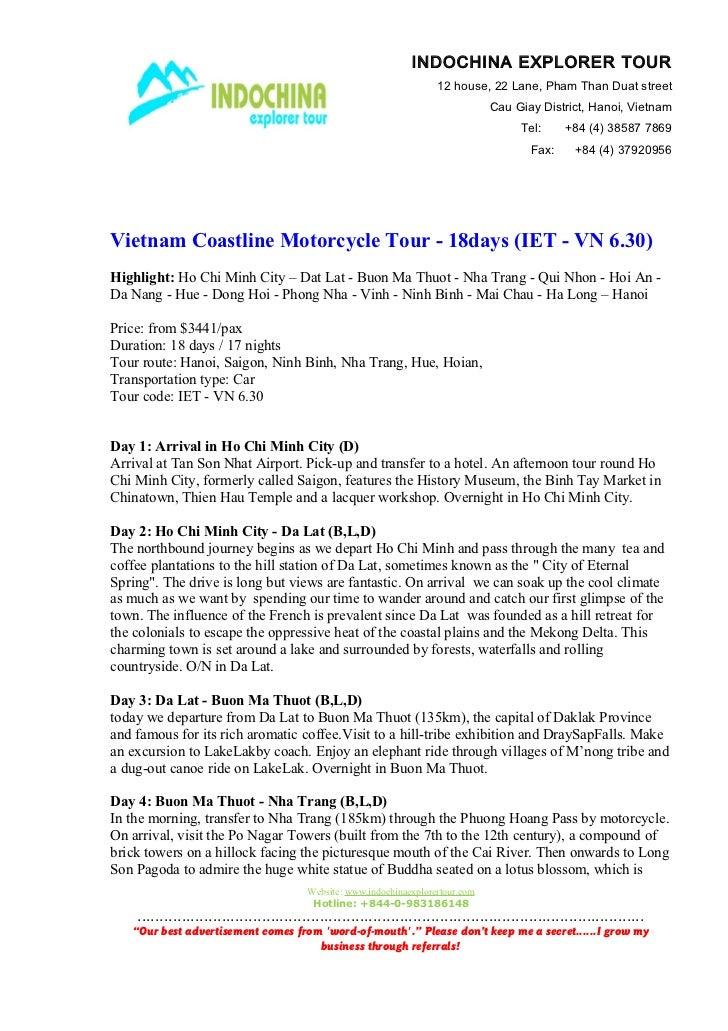 Vietnam coastline motorcycle tour   18days (iet - vn 6.30)