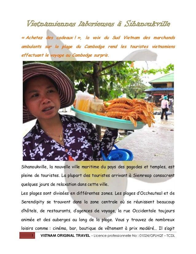 Vietnamiennes laborieuses à Sihanoukville « Achetez des cadeaux ! », la voix du Sud Vietnam des marchands ambulants sur la...