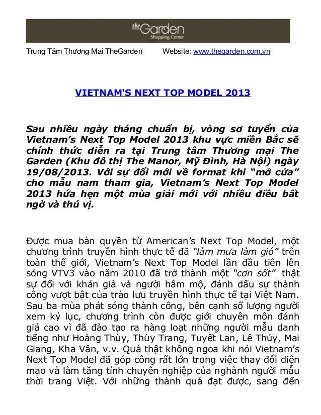 Trung Tâm Thương Mại TheGarden Website: www.thegarden.com.vn VIETNAM'S NEXT TOP MODEL 2013 Sau nhiều ngày tháng chuẩn bị, ...