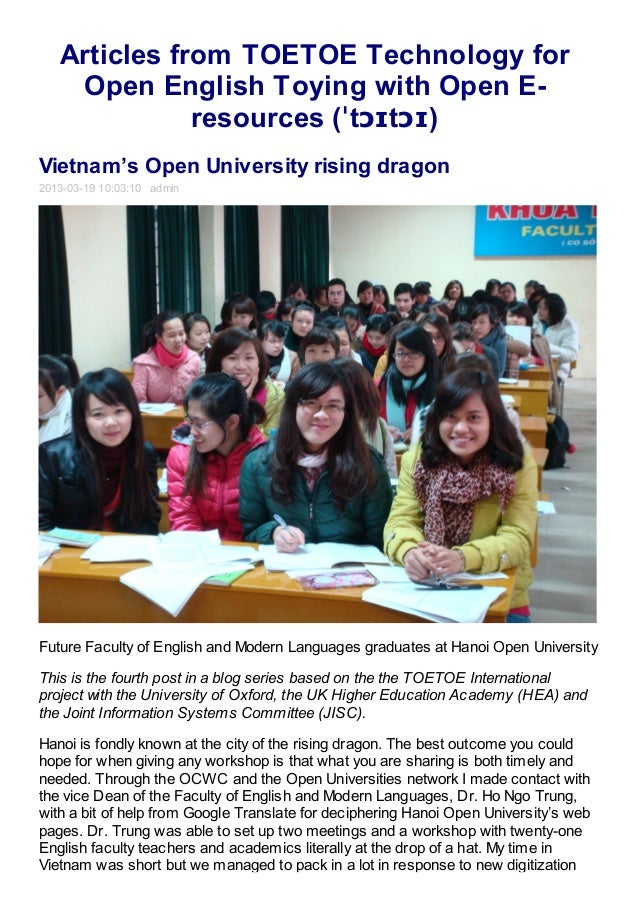 Articles from TOETOE Technology for    Open English Toying with Open E-              resources (ˈtɔɪtɔɪ)Vietnam's Open Uni...