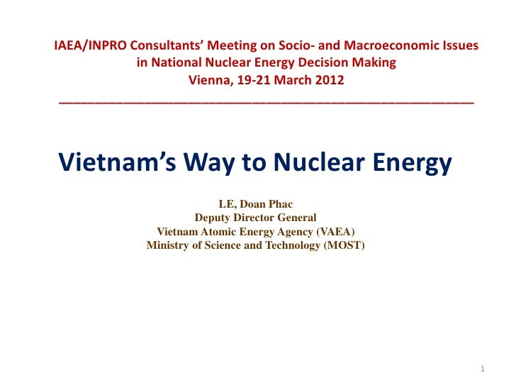 IAEA/INPRO Consultants' Meeting on Socio- and Macroeconomic Issues            in National Nuclear Energy Decision Making  ...