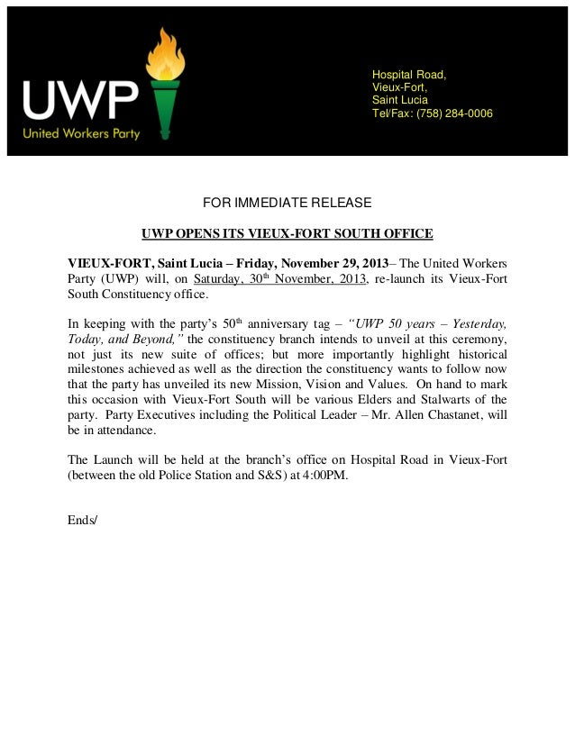 Hospital Road, Vieux-Fort, Saint Lucia Tel/Fax: (758) 284-0006  Contact:  FOR IMMEDIATE RELEASE UWP OPENS ITS VIEUX-FORT S...