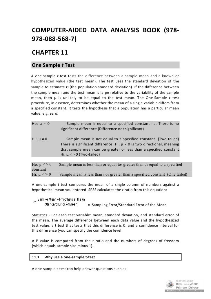 COMPUTER-AIDED DATA ANALYSIS BOOK (978- 978-088-568-7) CHAPTER 11 One Sample t Test A one-sample t-test tests the differen...