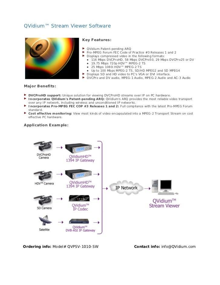QVidium™ Stream Viewer Software                                   Key Features:                                      QVidi...