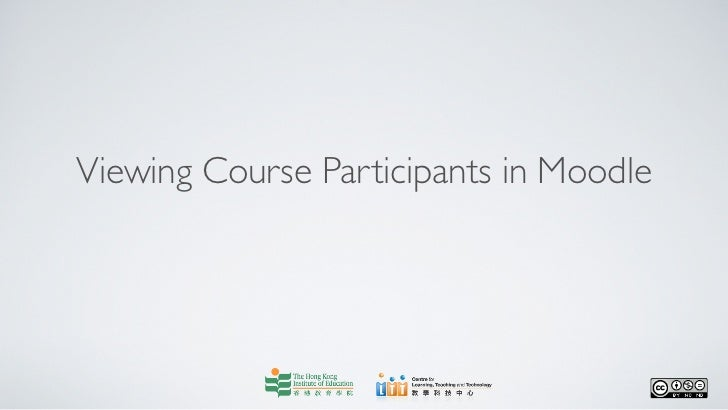 Viewing Course Participants in Moodle