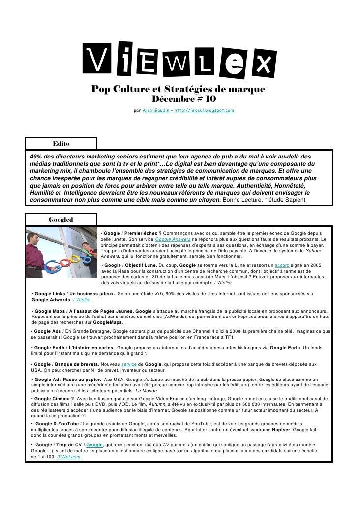 ViEWLeX                             Pop Culture et Stratégies de marque                                                   ...
