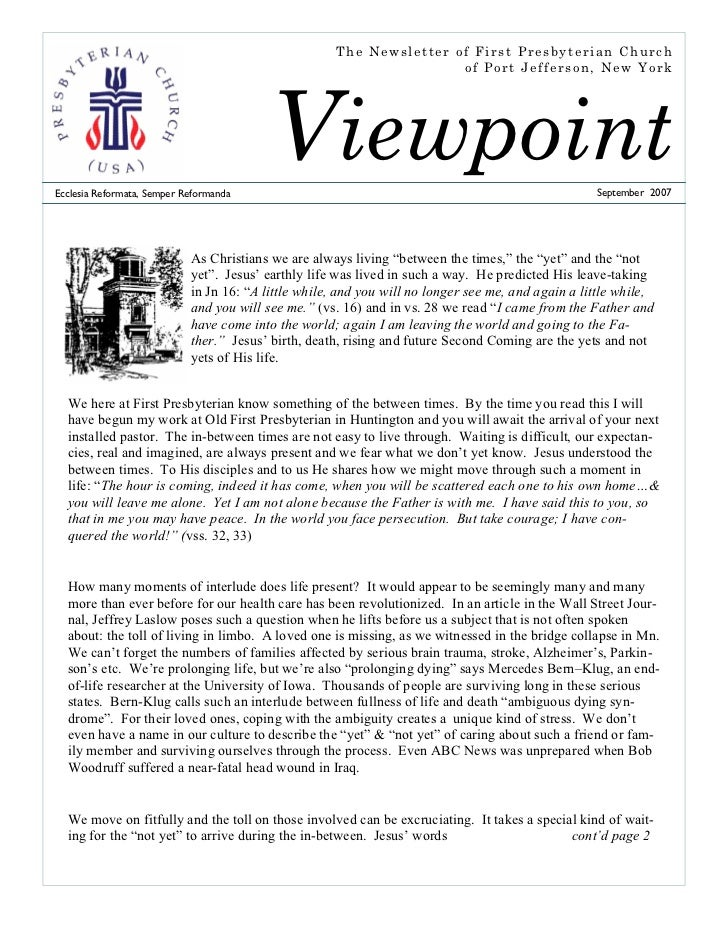 The Newsletter of First Presbyterian Church                                                                     of Port Je...