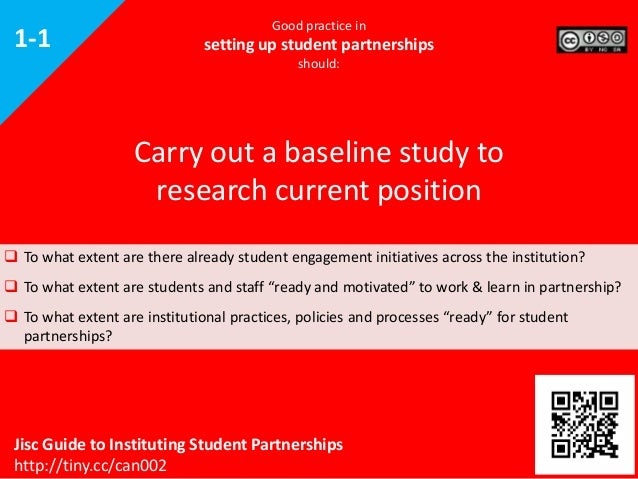 1-1  Good practice in  setting up student partnerships should:  Carry out a baseline study to research current position  ...