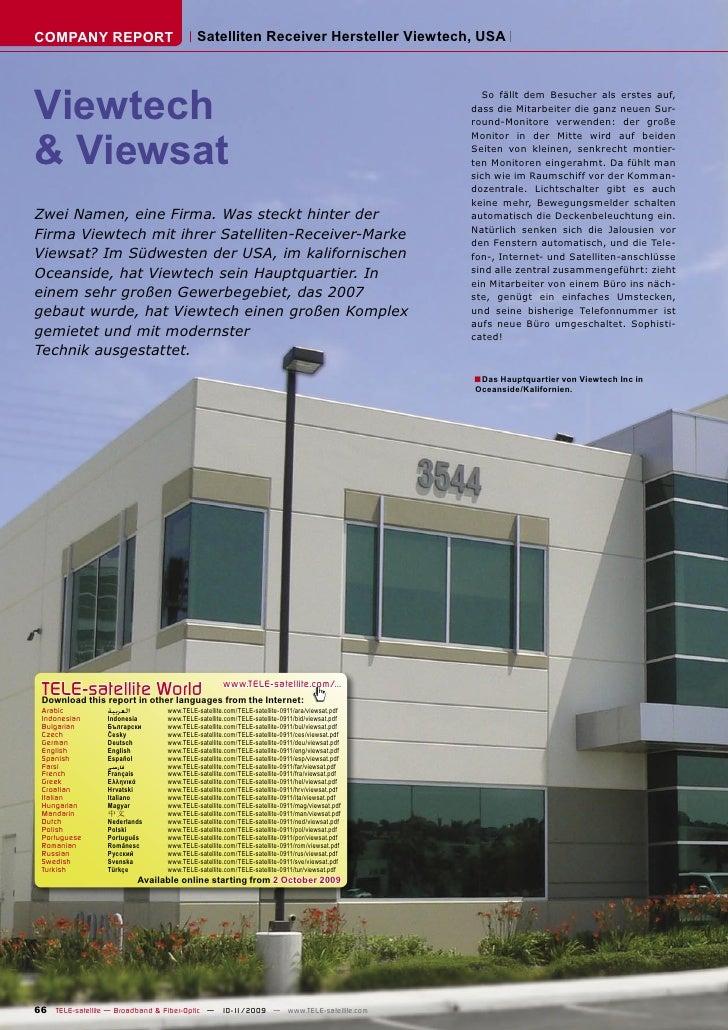 COMPANY REPORT                            Satelliten Receiver Hersteller Viewtech, USA     Viewtech                       ...