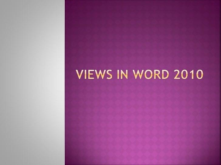 Views in word_2010