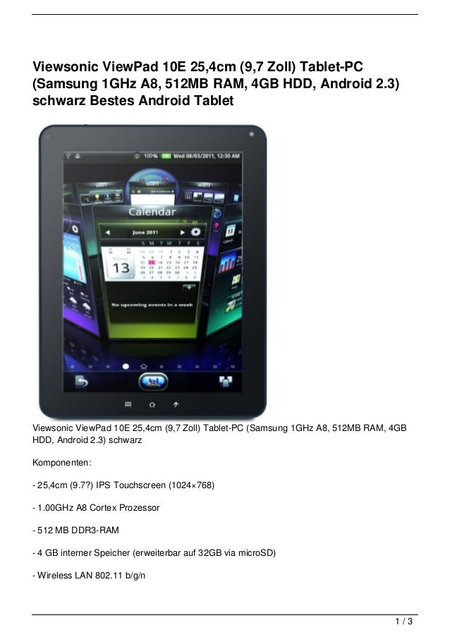 Viewsonic ViewPad 10E 25,4cm (9,7 Zoll) Tablet-PC(Samsung 1GHz A8, 512MB RAM, 4GB HDD, Android 2.3)schwarz Bestes Android ...