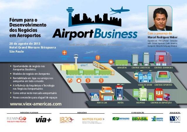 Fórum para o Desenvolvimento dos Negócios em Aeroportos 28 de agosto de 2013 Hotel Grand Mercure Ibirapuera São Paulo • O...