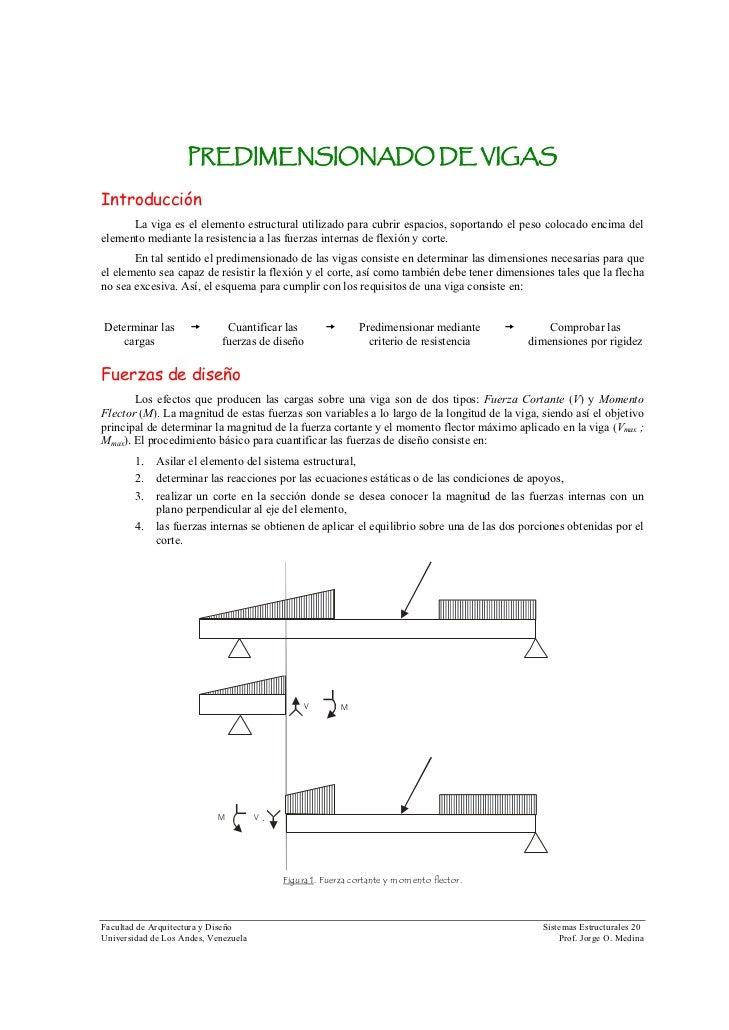 PREDIMENSIONADO DE VIGAS  Introducción       La viga es el elemento estructural utilizado para cubrir espacios, soportando...