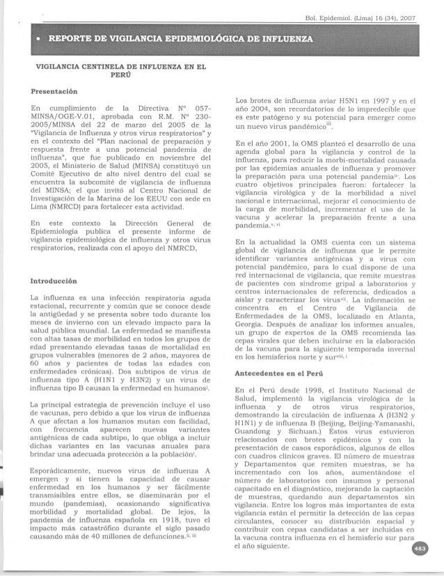 VIGILANCIA CENTINELA DE INFLUENZA EN EL                       PERU    Presentacion                                        ...