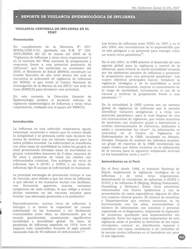 Vigilancia centinela de influenza  2007