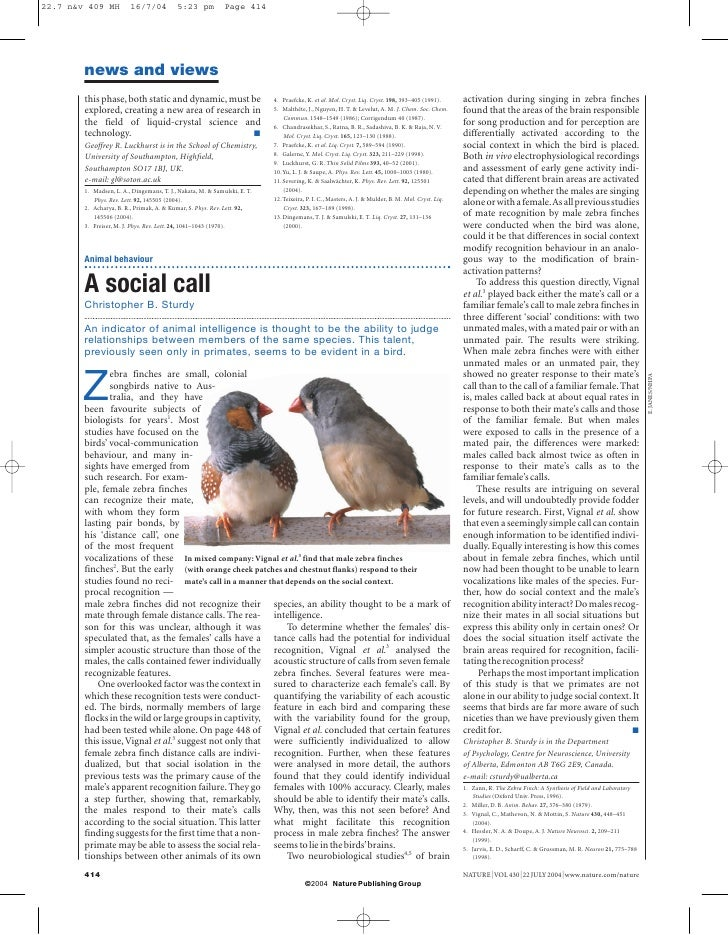 sturdy-Vignal-mathevon-mottin-2004 nature newsandviews