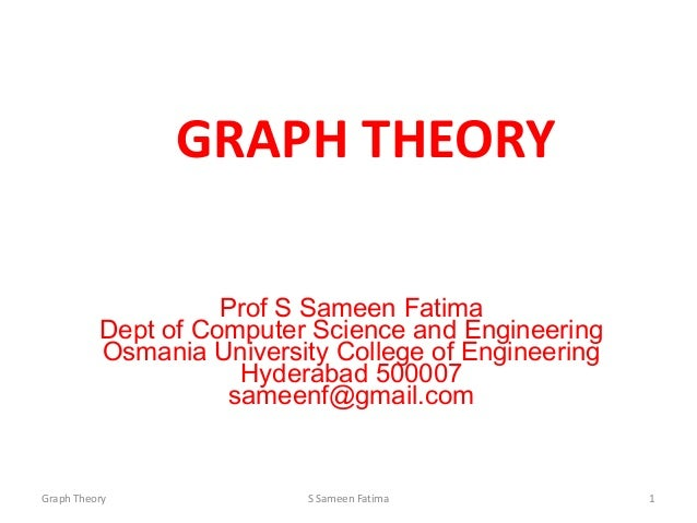 GRAPH THEORY Prof S Sameen Fatima Dept of Computer Science and Engineering Osmania University College of Engineering Hyder...