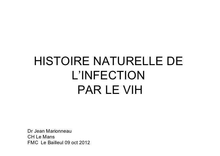 HISTOIRE NATURELLE DE        L'INFECTION         PAR LE VIHDr Jean MarionneauCH Le MansFMC Le Bailleul 09 oct 2012