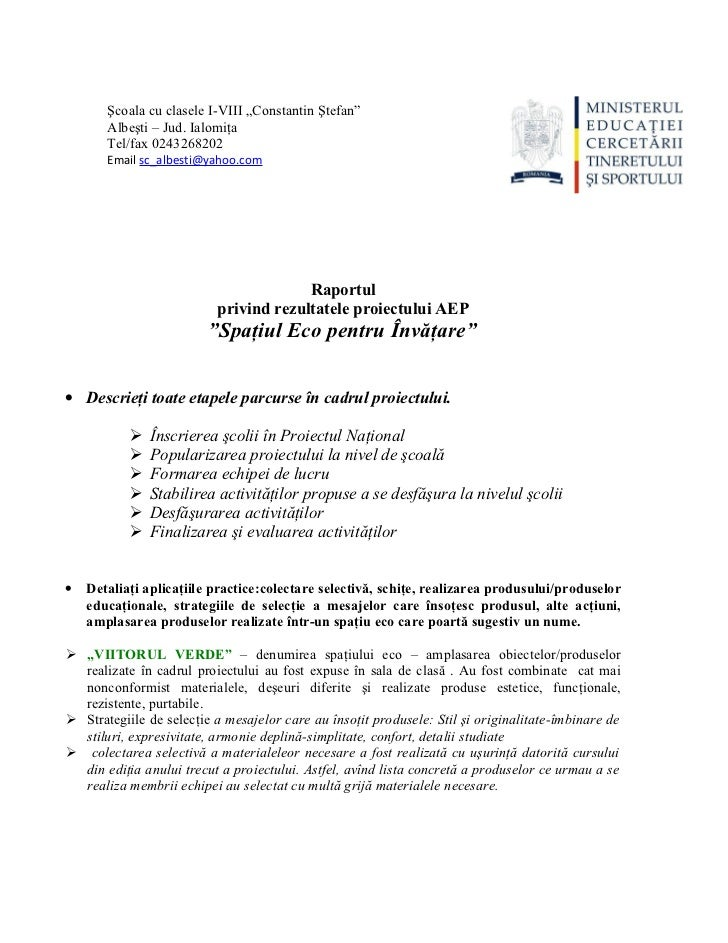 """Şcoala cu clasele I-VIII """"Constantin Ştefan""""       Albeşti – Jud. Ialomiţa       Tel/fax 0243268202       Email sc_albesti..."""