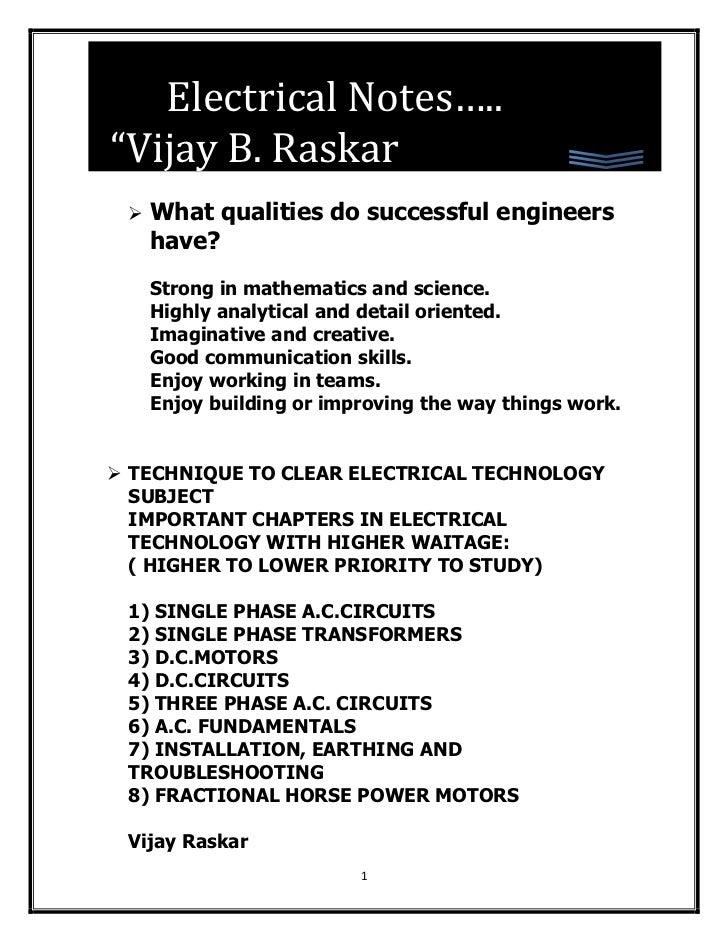 "Electrical Notes….. EELDAD""Vijay B. Raskar    What qualities do successful engineers     have?     Strong in mathematics ..."