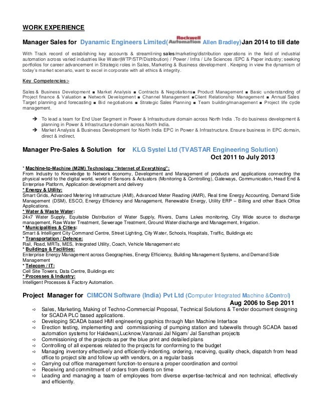 industrial sales manager resume