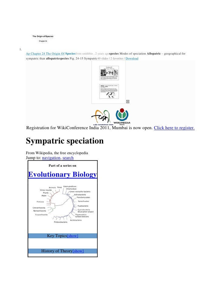 Ap Chapter 24 The Origin OfSpeciesfromsmithbio,2 yearsagospeciesModes of speciationAllopatric– geographical for sy...