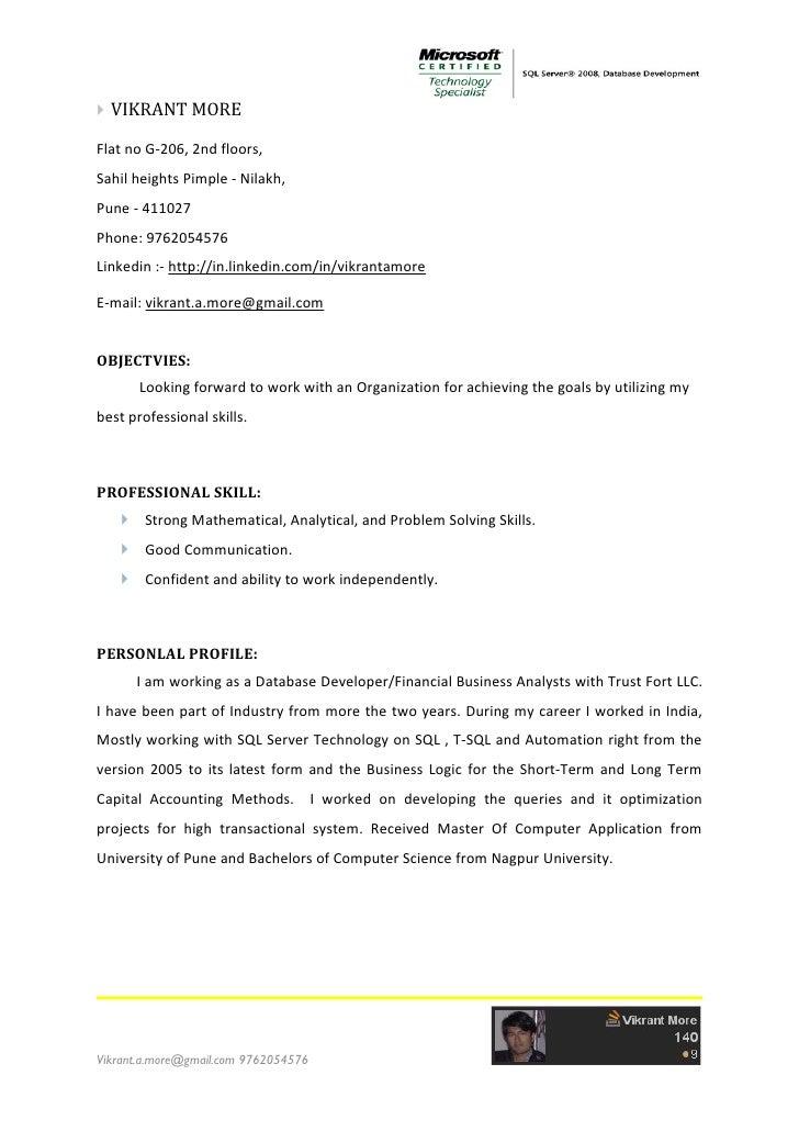  VIKRANT MOREFlat no G-206, 2nd floors,Sahil heights Pimple - Nilakh,Pune - 411027Phone: 9762054576Linkedin :- http://in....