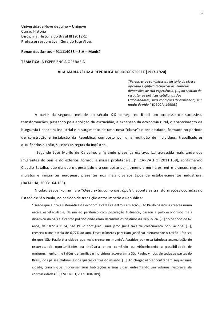 A EXPERIÊNCIA OPERÁRIA VILA MARIA ZÉLIA: A REPÚBLICA DE JORGE STREET (1917-1924)