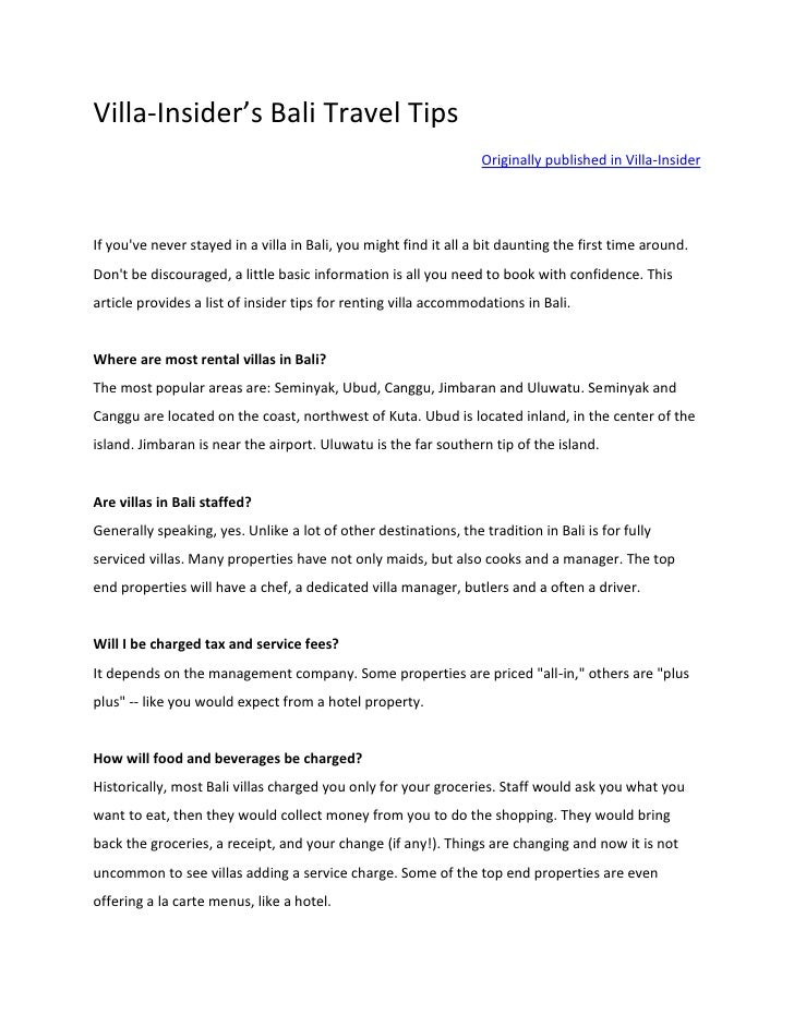Villa-Insider's Bali Travel Tips                                                                   Originally published in...