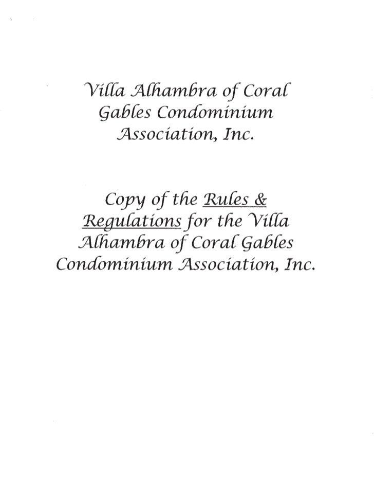 Villa Alhambra Rules and Regulations 12-10-10