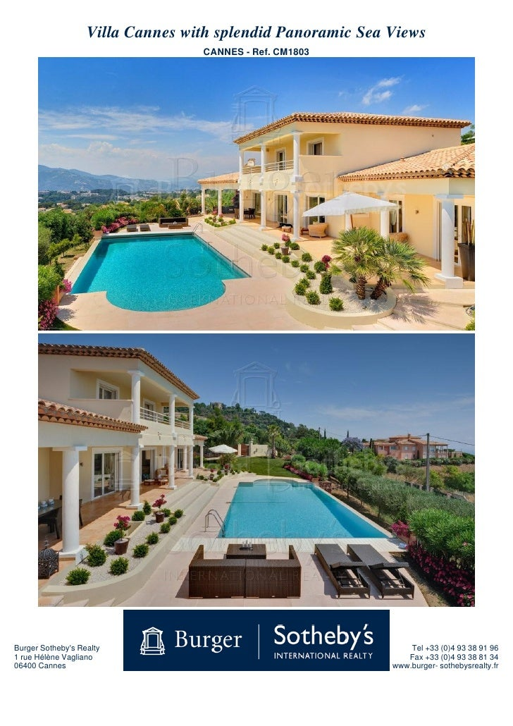 Villa Cannes with splendid Panoramic Sea Views                                   CANNES - Ref. CM1803     Burger Sotheby's...