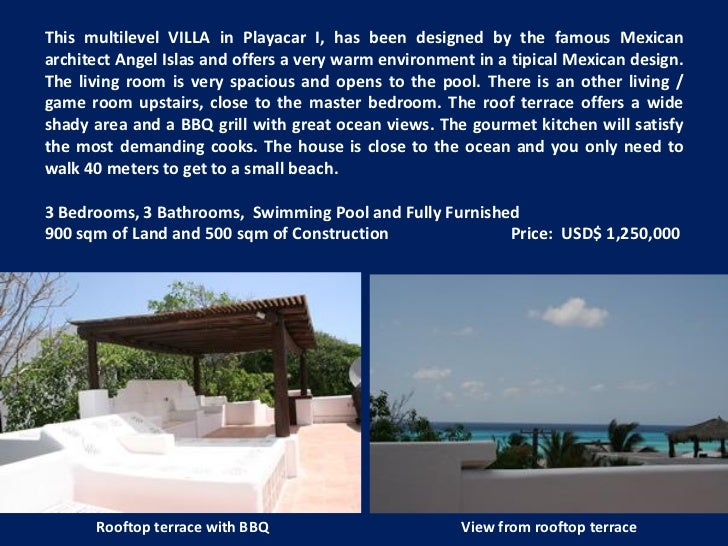 This multilevel VILLA in Playacar I, has been designed by the famous Mexicanarchitect Angel Islas and offers a very warm e...