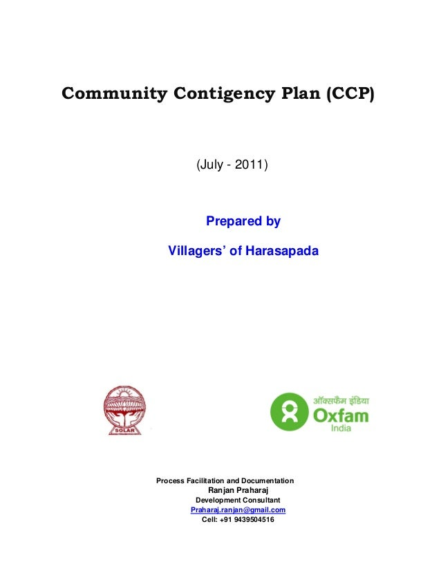 Community Contigency Plan (CCP)                   (July - 2011)                      Prepared by            Villagers' of ...