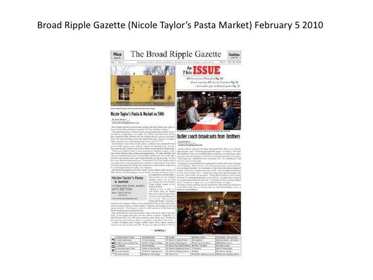 Broad Ripple Gazette (Nicole Taylor's Pasta Market) February 5 2010<br />
