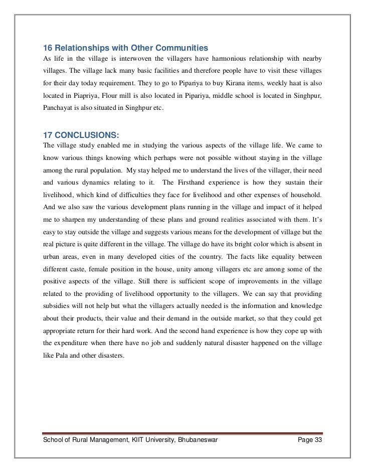 The village descriptive essay