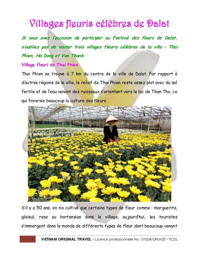 Villages fleuris célèbres de Dalat Si vous avez l'occasion de participer au Festival des fleurs de Dalat, n'oubliez pas de...