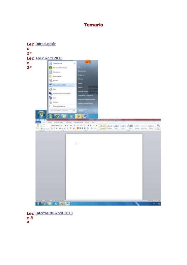 Temario  Lec Introducción c 1ª Lec Abrir word 2010 c 2ª  Lec Interfaz de word 2010 c3 ª