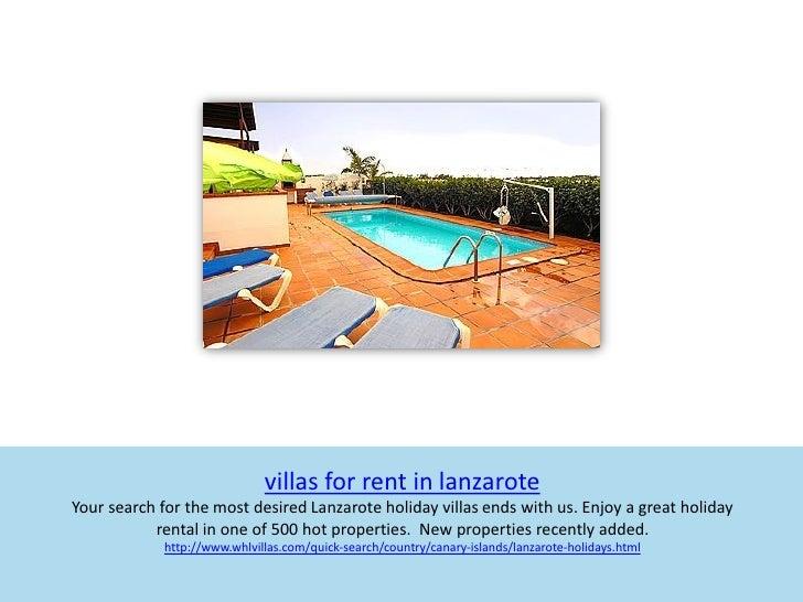 Villas for rent in lanzarote