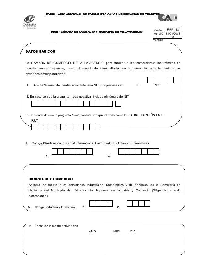 FORMULARIO ADICIONAL DE FORMALIZACIÓN Y SIMPLIFICACIÓN DE TRÁMITES                        DIAN - CÁMARA DE COMERCIO Y MUNI...