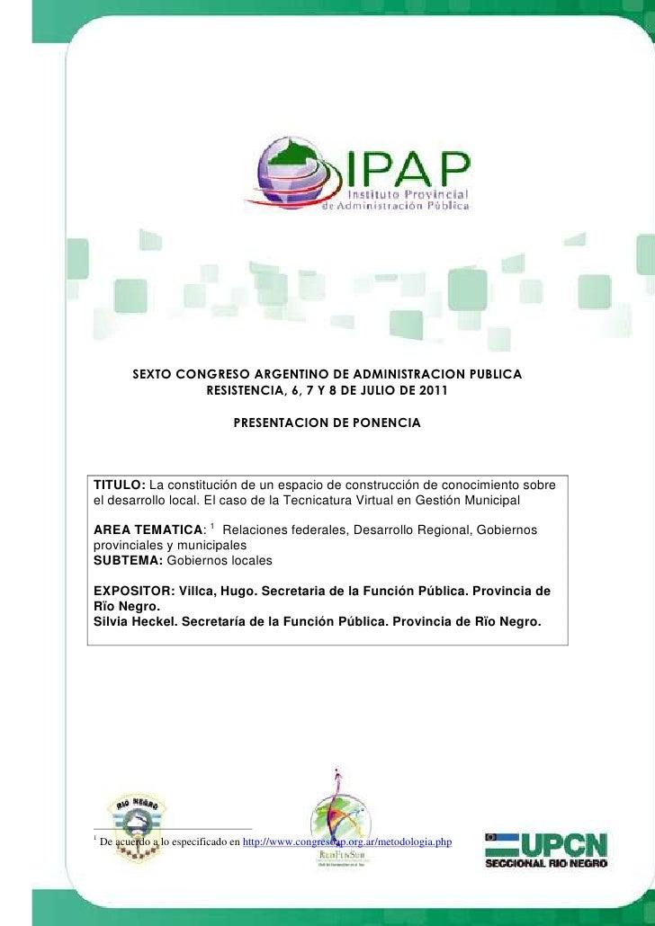 Presentación en Congreso en Chaco: El caso de la tecnicaturas del IPAP