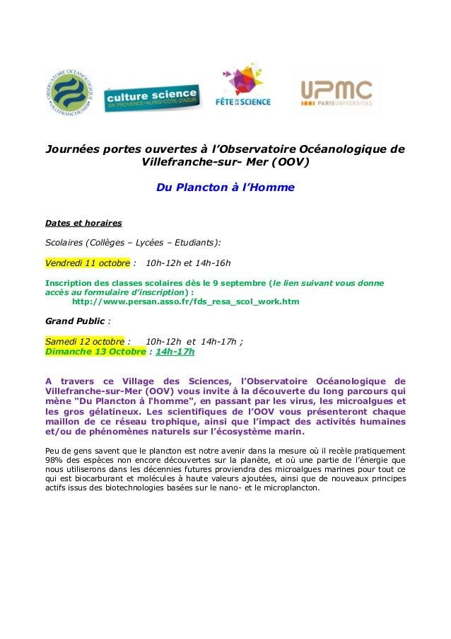 Journées portes ouvertes à l'Observatoire Océanologique de Villefranche-sur- Mer (OOV) Du Plancton à l'Homme Dates et hora...