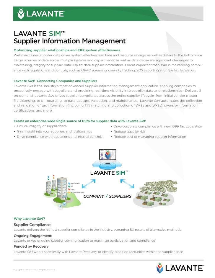 ®     LAVANTE SIM™ Supplier Information Management Optimizing supplier relationships and ERP system effectiveness Well-mai...