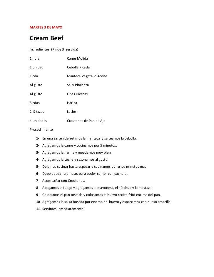 MARTES 3 DE MAYOCream BeefIngredientes (Rinde 3 servida)1 libra                Carne Molida1 unidad               Cebolla ...