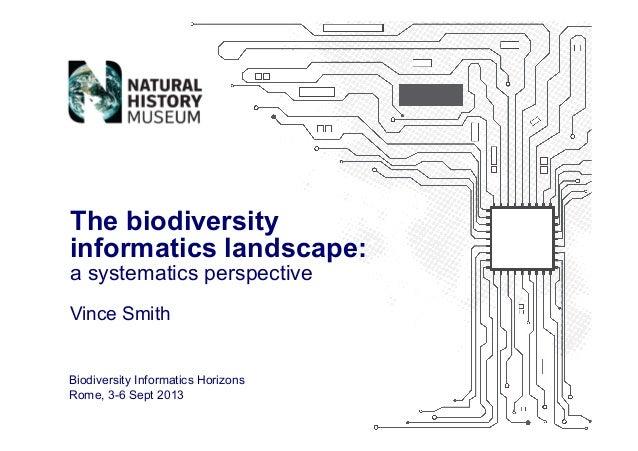 Vince Smith The biodiversity informatics landscape: a systematics perspective Biodiversity Informatics Horizons Rome, 3-6 ...
