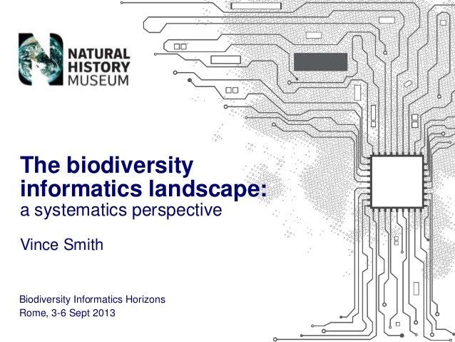 The biodiversity informatics landscape: a systematics perspective Vince Smith  Biodiversity Informatics Horizons Rome, 3-6...