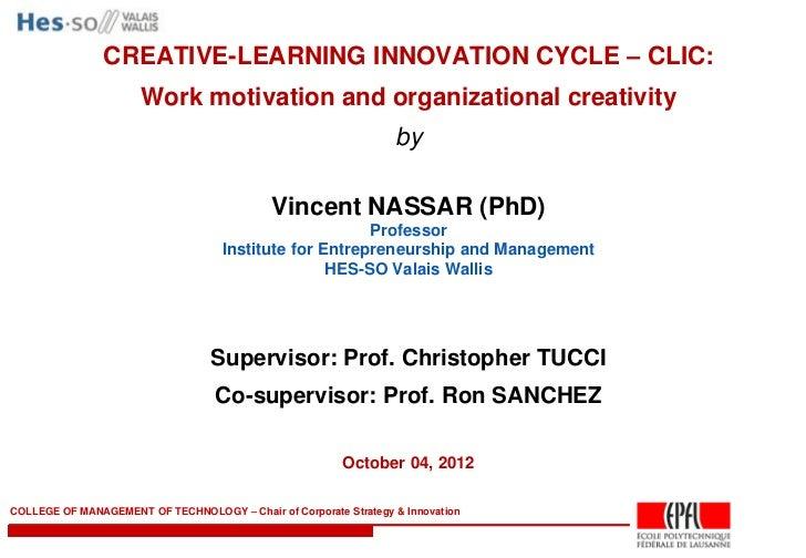 Létat idéal pour innover? Le flow - Vincent Nassar, HES-SO / EPFL