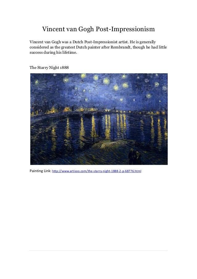 Vincent van gogh post impressionism--artisoo
